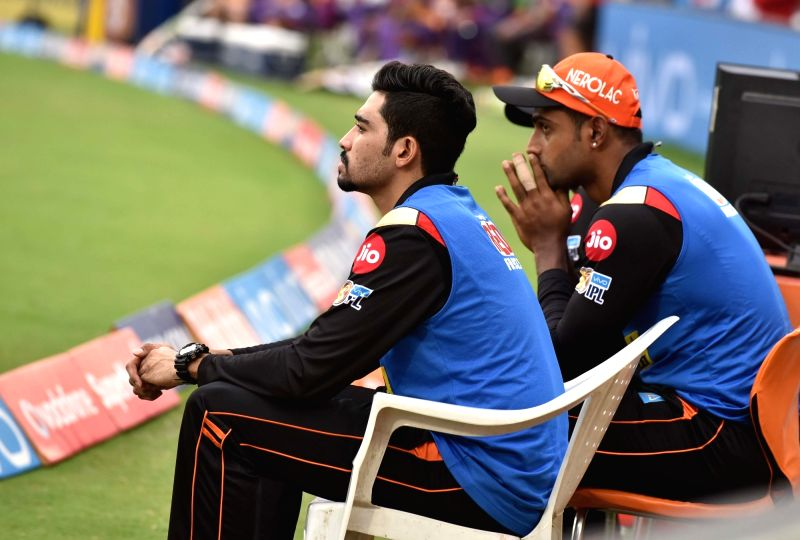 Sunrisers Hyderabad players during an IPL 2017 match between Sunrisers Hyderabad and Rising Pune Supergiant at Rajiv Gandhi International Stadium in Hyderabad, on May 6, 2017.