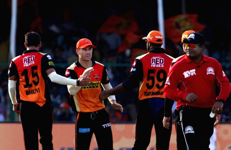 Sunrisers Hyderabad skipper David Warner during an IPL 2017 match between Gujarat Lions and Sunrisers Hyderabad at Green Park in Kanpur on May 13, 2017.