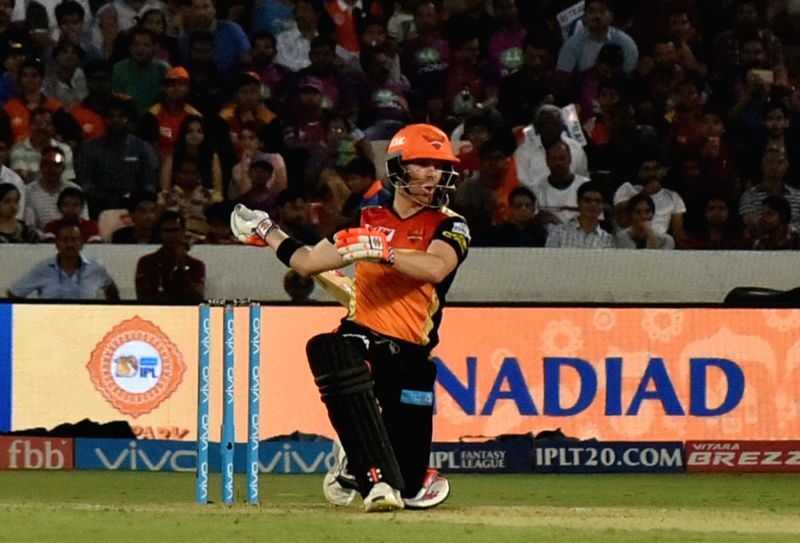 Sunrisers Hyderabad skipper David Warner in action during an IPL 2017 match between Sunrisers Hyderabad and Rising Pune Supergiant at Rajiv Gandhi International Stadium in Hyderabad, on ...