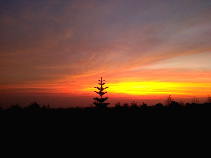 Sunset as seen from Palampur on Dec 5, 2017.