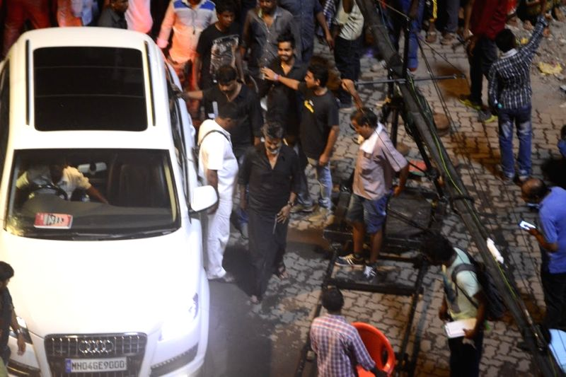 "Superstar Rajinikanth during Shooting of his upcoming Tamil gangster drama ""Kaala"" in Mumbai on June 7, 2017."