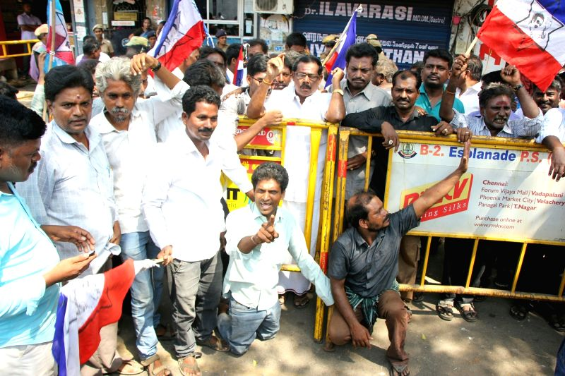 Superstar Rajinikanth fans stage a counter protest against members of Tamil Munnetra Padai in Chennai on May 23, 2017. Members of Tamil Munnetra Padai had staged a demonstration around ...