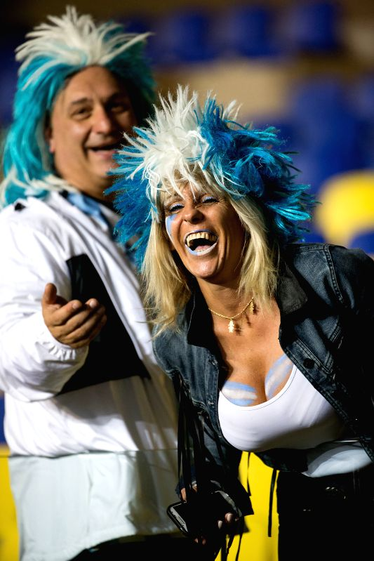 Supporters of Argentina are seen ahead of the semifinal between Argentina and Paraguay at the 2015 Copa America, in Concepcion, Chile, on June 30, 2015. Argentina ...