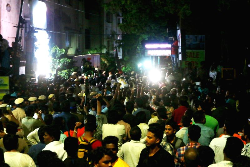 Supporters wait as DMK leaders reach Kauvery hospital where party chief M Karunanidhi was admitted in Chennai on July 28, 2018.