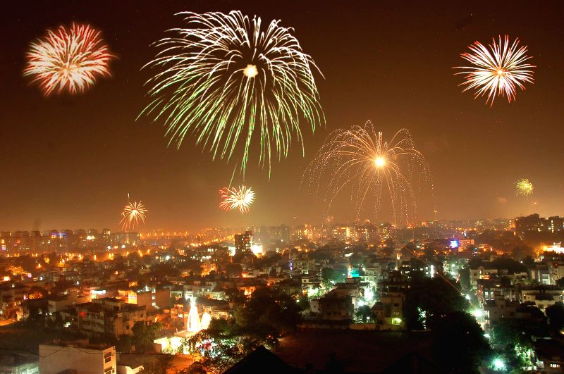 Fireworks light-up Surat sky on the eve of Diwali