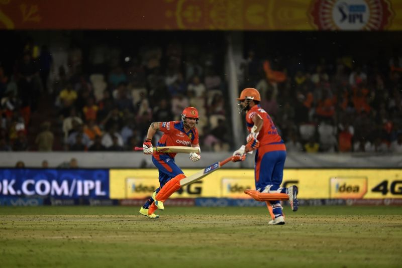 Suresh Raina and Brendon McCullum of Gujarat Lions during an IPL match between Sunrisers Hyderabad and Gujarat Lions at Rajiv Gandhi International Stadium in Hyderabad on May 6, 2016.