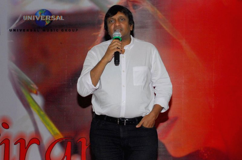 Suresh Thomas (Cresendo-Universal Music) addressing the gathering during the music release of album Kiran, in Mumbai, on Aug 18, 2014.