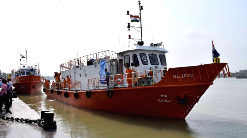Survey cum Inspection Vessels of Inland Waterways Authority of India – SL Ganga and SL Jhanvi at Garden Reach in Kolkata on June 1, 2017.