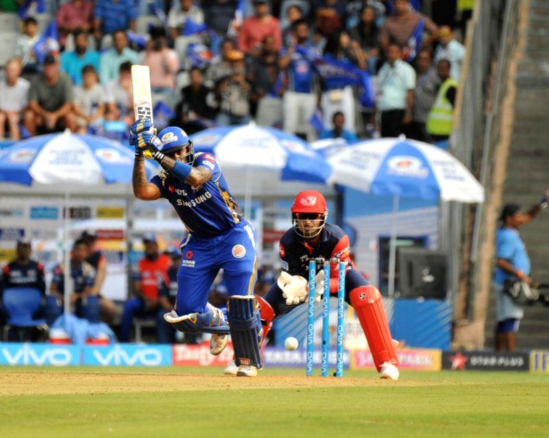 Surya Kumar Yadav of Mumbai Indians in action during an IPL 2018 match between Delhi Daredevils and Mumbai Indians at Wankhede Stadium in Mumbai on April 14, 2018. - Kumar Yadav