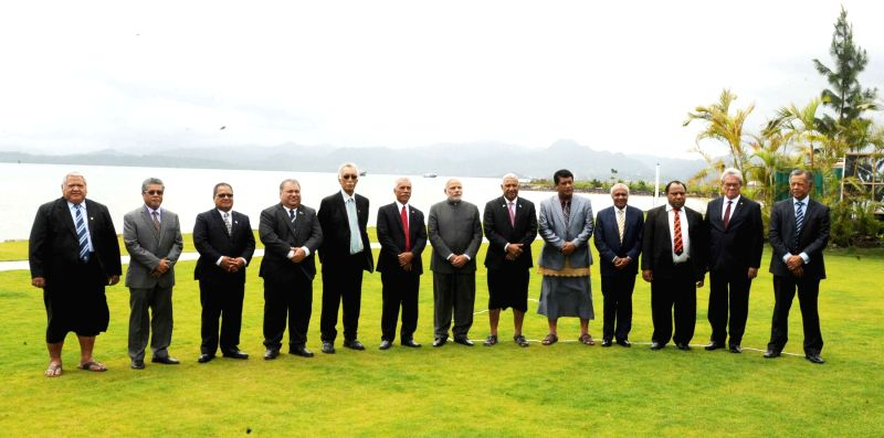 Prime Minister Narendra Modi in a group photo with the Pacific Island Leaders at the Forum for India-Pacific Island Cooperation, in Suva, Fiji on Nov 19, 2014. - Narendra Modi