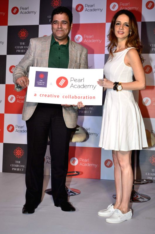 Suzanne Khan, ex wife of Bollywood actor Hrithik Roshan and Sharad Mehra, CEO, Pearl Academy during the launch of Pearl Academy's Mumbai Campus, in Mumbai on April 15, 2014. - Hrithik Roshan and Suzanne Khan