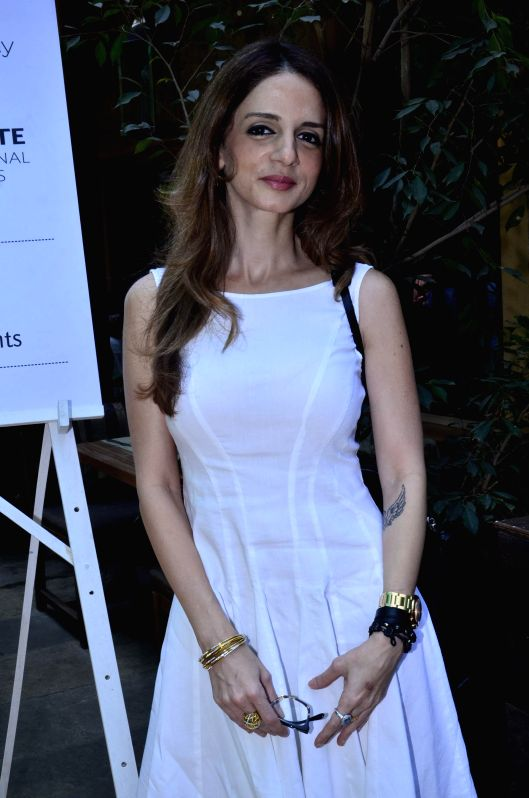 Suzanne Khan, ex wife of Bollywood actor Hrithik Roshan during the launch of Pearl Academy's Mumbai Campus, in Mumbai on April 15, 2014. - Hrithik Roshan and Suzanne Khan