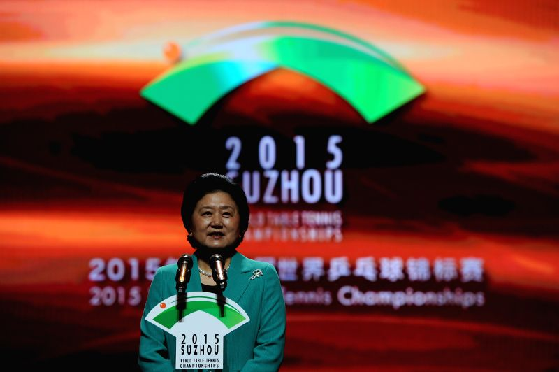 Chinese Vice Premier Liu Yandong declares the opening of the 2015 World Table Tennis Championships in Suzhou, east China's Jiangsu Province, April 25, 2015.  ...