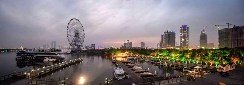 Photo taken on April 24, 2015 shows the night view of Suzhou, city of east China's Jiangsu Province and the host city of the 53rd Table Tennis World Championships. ...