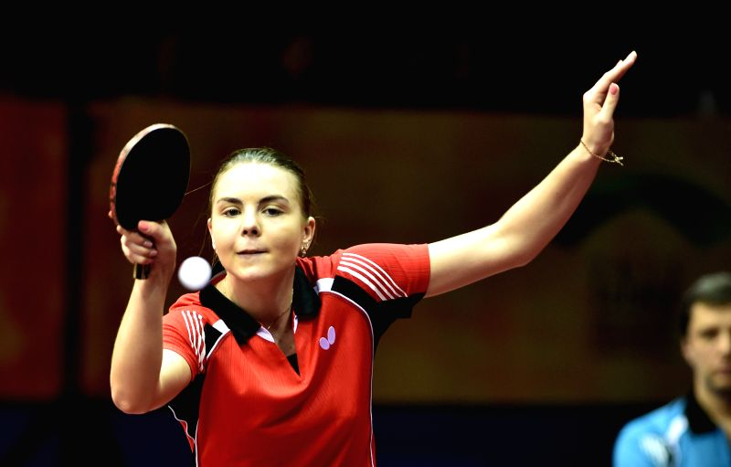 Belarus' Alina Arlouskayacompetes againast Romania's Elizabeta Samara during Women's Single match at the 53rd Table Tennis World Championships in Suzhou, city of ...