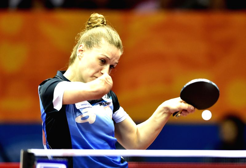 Poland's Natalia Partyka competes against Hungary's Szandra Pergel during Women's Singles match at the 53rd Table Tennis World Championships in Suzhou, city of east ...