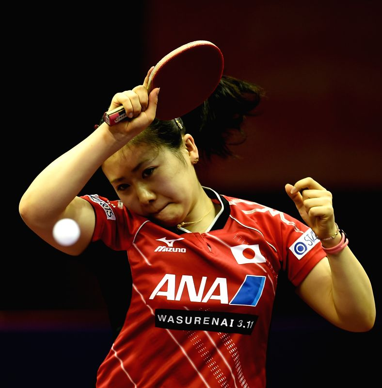 Japan's Fukuhara Ai competes against Ukraine's Tetyana Bilenko during Women's Singles match at the 53rd Table Tennis World Championships in Suzhou, city of east ...
