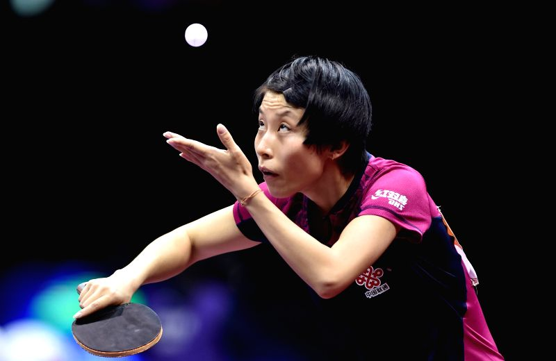 China's Wu Yang serves the ball during the Women's Singles match against Chinese Taipei's Cheng I-Ching at the 53rd Table Tennis World Championships in Suzhou, city of ...
