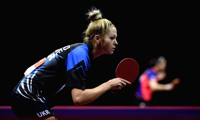 Urkaine's Tetyana Bilenko competes during the Women's Singles match against Japan's Ito Mima at the 53rd Table Tennis World Championships in Suzhou, city of east ...
