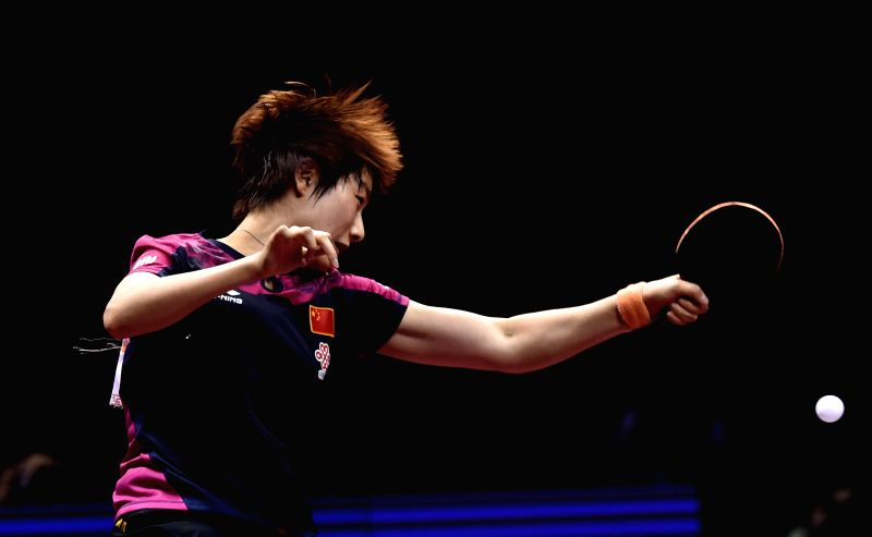 China's Ding Ning competes during the Women's Singles Semifinal against her compatriot Mu Zi at the 53rd Table Tennis World Championships in Suzhou, city of east ...
