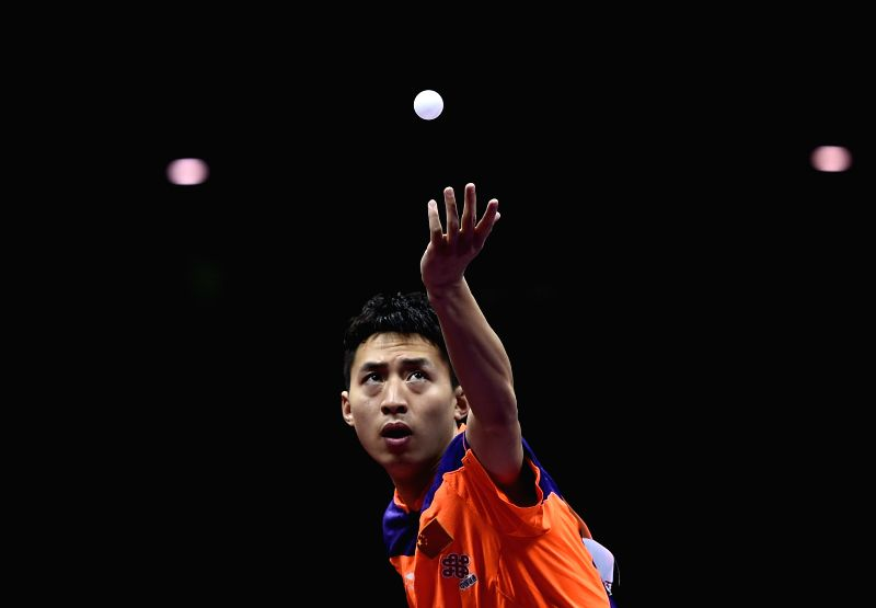 China's Fang Bo competes against Germany's Patrick Franziska during Men's Singles Quarterfinal at the 53rd Table Tennis World Championships in Suzhou, city of east ...
