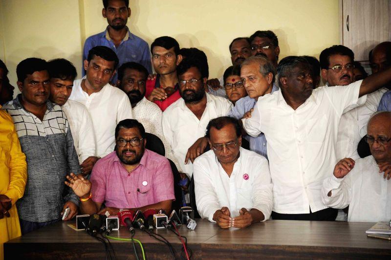 Swabhimani Shetkari Sanghatana leader Raju Shetty addresses a press conference in Mumbai, on June 10, 2017. - Raju Shetty