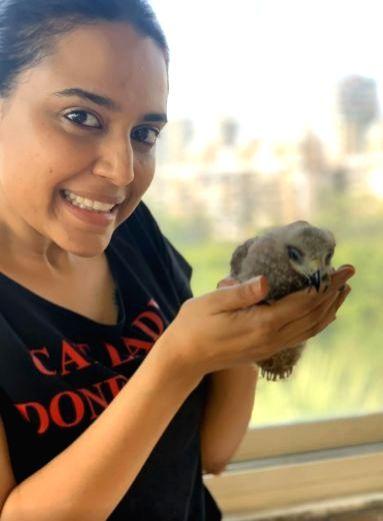 Swara Bhasker rescues black kite bird.