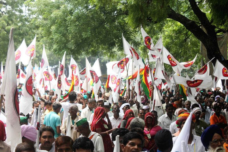 Swaraj Samvad  workers during a demonstration at Jantar Mantar on Aug 10, 2015.