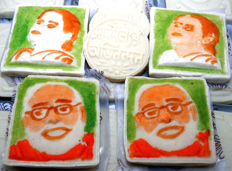 Sweets with pictures of Mamata Banerjee and Narendra Modi at a sweet shop in Kolkata on May 18, 2014.