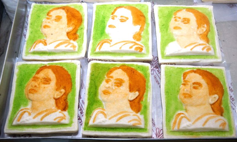 Sweets with pictures of Mamata Banerjee at a sweet shop in Kolkata on May 18, 2014.