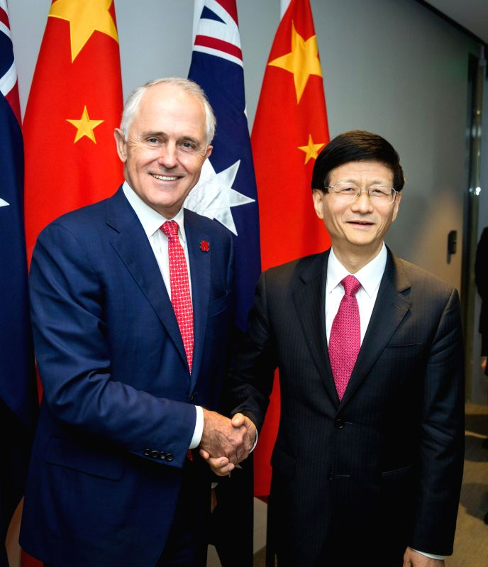 SYDNEY, April 22, 2017 - Meng Jianzhu (R), head of the Commission for Political and Legal Affairs of the Communist Party of China (CPC) Central Committee, meets with Australian Prime Minister Malcolm ... - Malcolm Turnbull