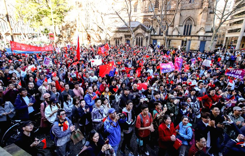 SYDNEY, Aug. 17, 2019 (Xinhua) -- People take part in the Stop Riots in Hong Kong rally in Sydney, Australia, Aug. 17, 2019. Around 3,000 people marched peacefully through the streets of Sydney on Saturday to call for an end to the violence which has