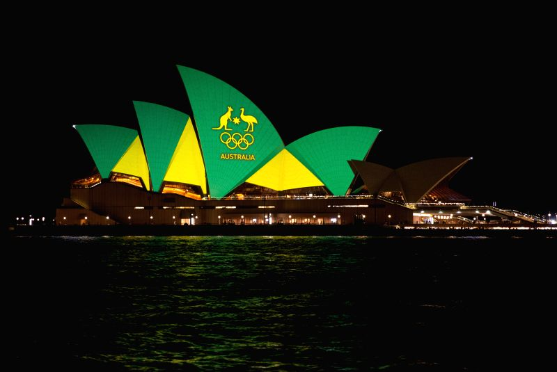 SYDNEY, Aug. 5, 2016 - The Sydney Opera House is illuminated in the colors of the Australian Olympic team to welcome the 2016 Rio Olympic Games, in Sydney, Australia, Aug. 5, 2016.