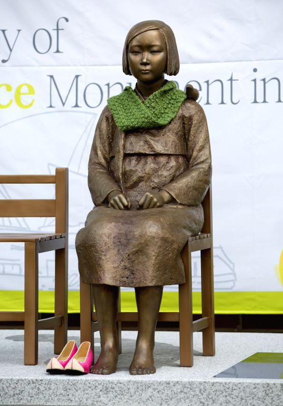 "SYDNEY, Aug. 6, 2016 - Photo taken on Aug. 6, 2016 shows a ""comfort women"" statue commemorating ladies who were used as sexual slaves during the Second World War in Sydney, Australia. A ..."