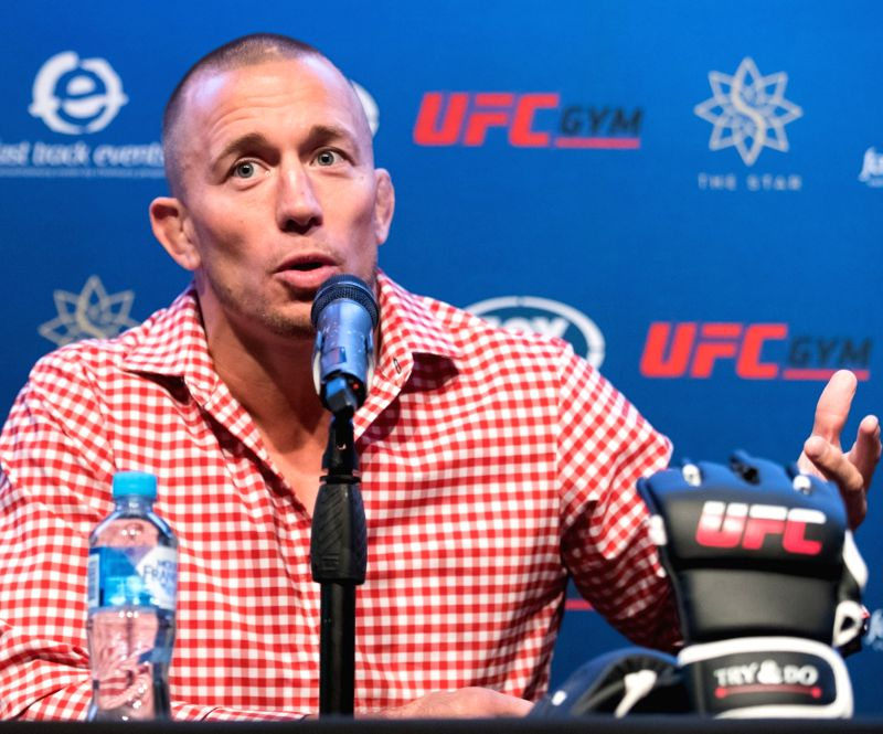 SYDNEY, Aug. 6, 2018 - Ultimate Fighting Championship(UFC)  player George St-Pierre attends a press conference in Sydney, Australia, on Aug. 6, 2018. St-Pierre will give three speeches in Sydney, ...