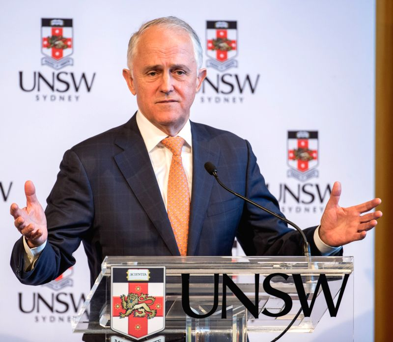 SYDNEY, Aug. 7. 2018 Australian Prime Minister Malcolm Turnbull speaks at University of New South Wales (UNSW) in Sydney, Australia, on Aug. 7, 2018. Australian Prime Minister Malcolm ... - Malcolm Turnbull