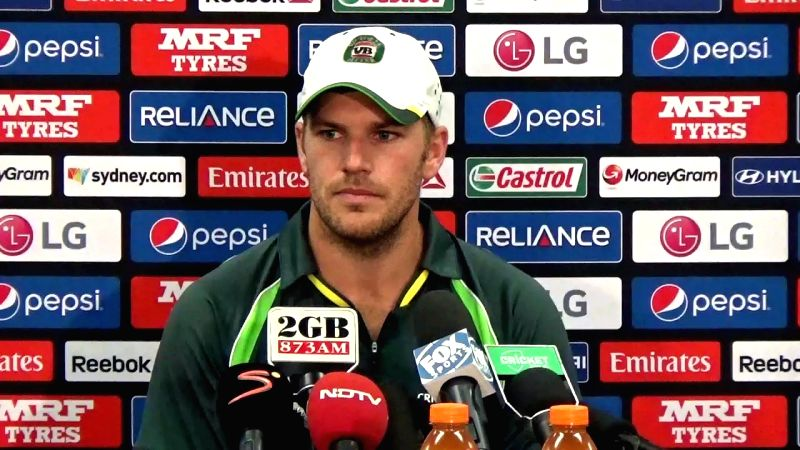 Australian cricketer Aaron Finch ​addresses​ a press conference at the SCG in Sydney, Australia on March 24, 2015.
