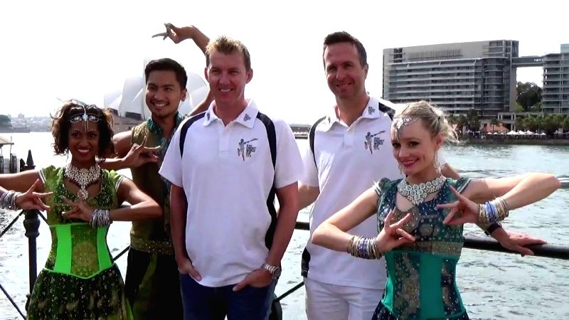 Former Australian cricketer Brett Lee and Former England captain Michael Vaughan ​during an ICC World Cup 2015 ​programme organised at the Sydney Opera House in Sydney, Australia on March ...