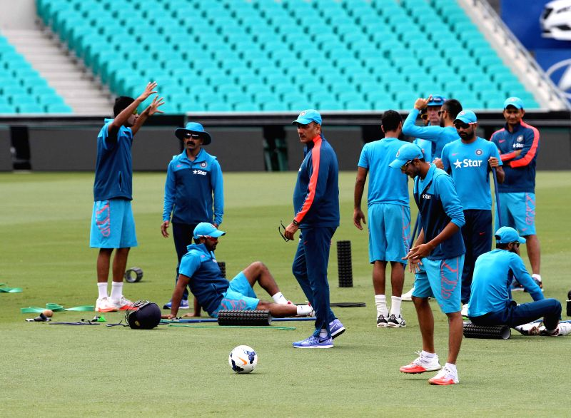 Indian cricketers during a practice session ahead of the ICC World Cup - 2015 semi-final match against Australia at the SCG in Sydney, Australia on March 23, 2015.