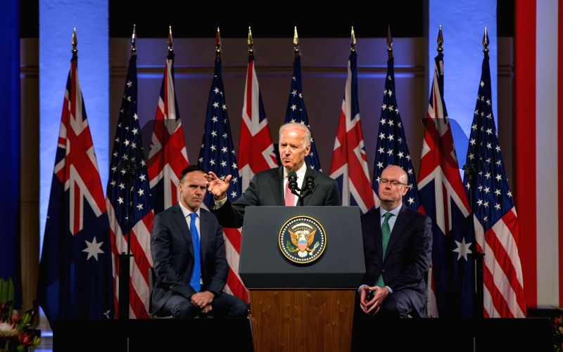 SYDNEY, July 20, 2016 - U.S. Vice President Joe Biden (C) delivers a speech in Sydney, Australia, July 20, 2016. Australia is key to the core of the United States' Asia-Pacific pivot as each country ...