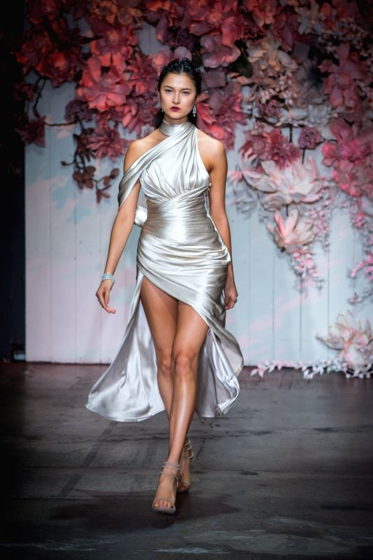 SYDNEY, May 15, 2017 - A model presents a creation during the Steven Khalil show at Mercedes-Benz Fashion Week in Sydney, Australia, on May 15, 2017.