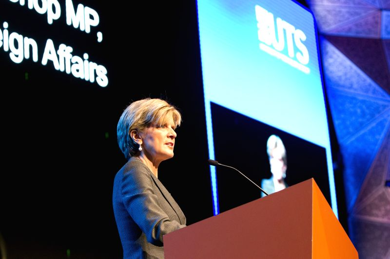 Australian Foreign Minister Julie Bishop speaks at the launching ceremony of the Australia-China Relations Institute (ACRI) in Sydney, Australia, May 16, 2014. ... - Julie Bishop