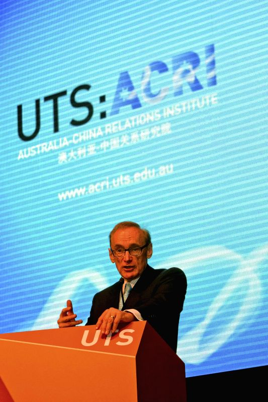 Australian former foreign minister Bob Carr speaks at the launching ceremony of the Australia-China Relations Institute (ACRI) in Sydney, Australia, May 16, 2014. ... - Bob Carr
