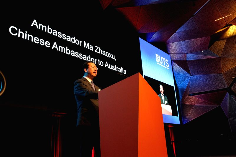 Chinese Ambassador to Australia Ma Zhaoxu speaks at the launching ceremony of the Australia-China Relations Institute (ACRI) in Sydney, Australia, May 16, 2014. ...
