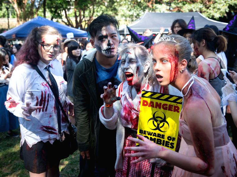 "SYDNEY, Oct. 29, 2016 - Disguised people take part in a ""Zombie Walk"" in Sydney, Australia, Oct. 29, 2016. People dressed as zombies participated in the Sydney Zombie Walk on Saturday to ..."