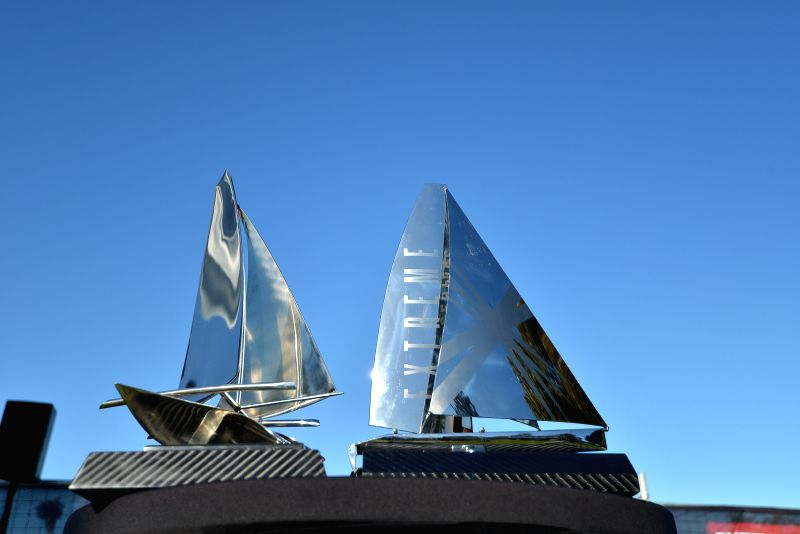 Trophies are seen before the awarding ceremony after races on the last day of the four-day Sydney races of the Extreme Sailing Series in Sydney, Australia, Dec. 14, 2014. Alinghi snatched Act