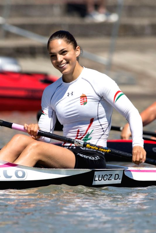 SZEGED, May 28, 2017 - Gold medalist Dora Lucz of Hungary celebrates her victory after winning K1 Women 200m final at the 2017 ICF Canoe Sprint World Cup in Szeged, Hungary, on May 28, 2017. Dora ...