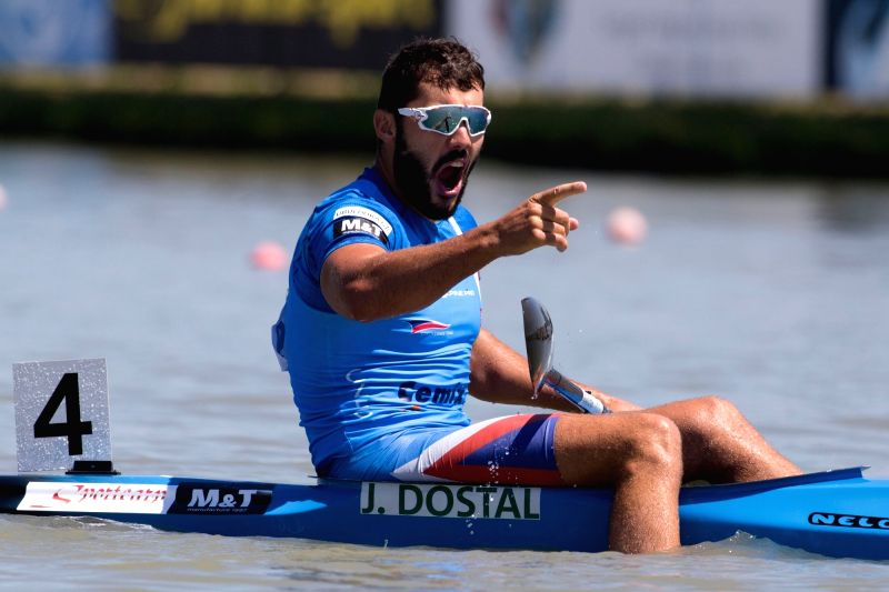 SZEGED, May 28, 2017 - Gold medalist Josef Dostal of Czech Republic celebrates his victory in K1 Men 500m final at the 2017 ICF Canoe Sprint World Cup in Szeged, Hungary, on May 28, 2017. Josef ...