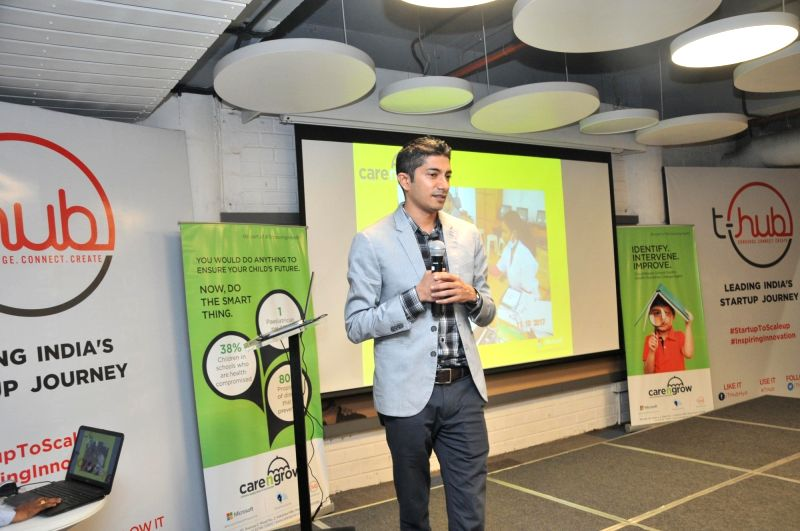 T-Hub CEO Jay Krishnan addresses at a programme organised to announce that a subscription-based preventive health and behaviour change service would be launched for children in schools by ...