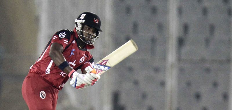 T&T batsman Darren Bravo in action during the CLT20 match between Trinidad & Tobago and Sunrisers Hyderabad at Mohali, Chandigarh on Sept. 24, 2013.